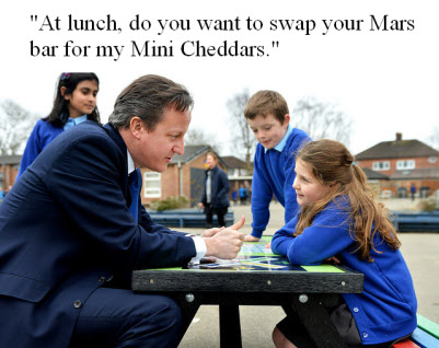 David Cameron joke with school child