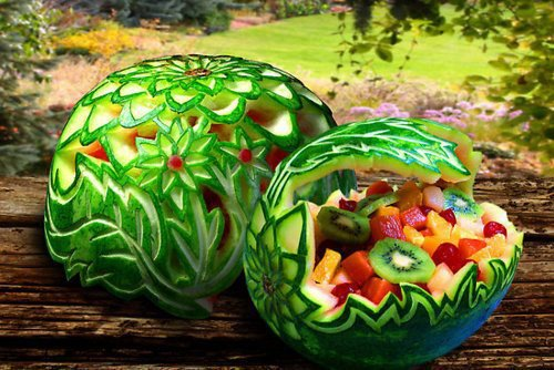 Carved watermelons