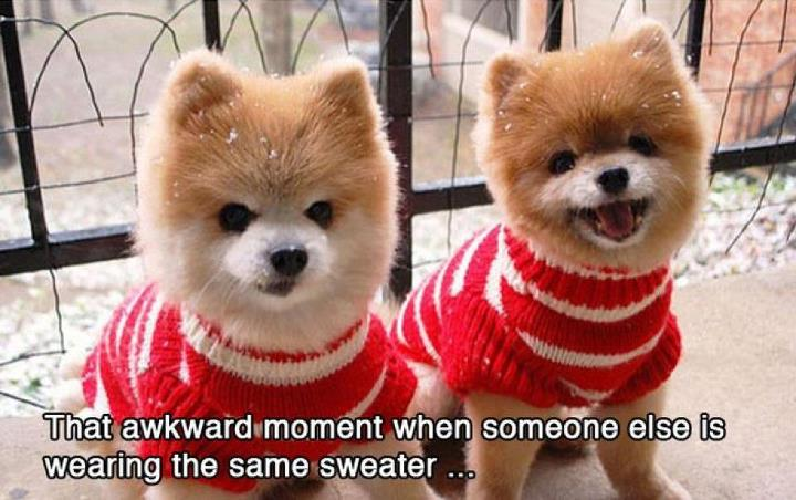 Wearing same jumpers